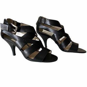 Michael Kors Black Leather Strap High Heel Zoe Sandals 6